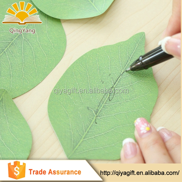 wenzhou cangnan christmas custom Wholesale promotional recycled leaf shaped sticky notes
