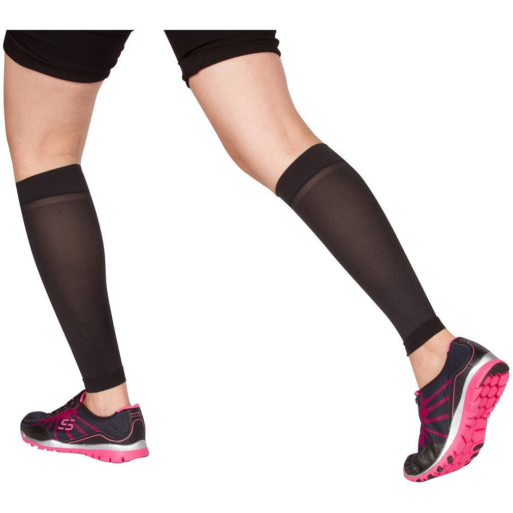 EvoMotion USA Made Sheer Microfiber Graduated Compression Calf Sleeves 10-15 mmHg - Men and Women Lightweight Recovery and Support for Shin Splints, Sports Sprains, Pain Relief 1 Pair (Large, Black)