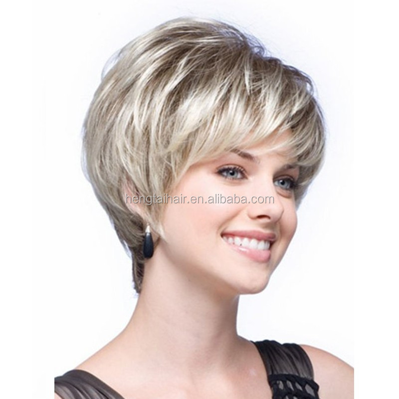 Fashion Short Ladys Wig Synthetic Celebrity Haircut Natural Looking