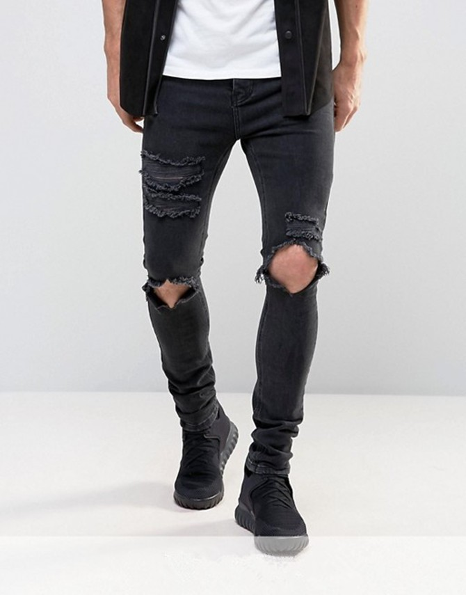 49c49d08057 2019 Blue ripped distressed biker mens jeans stretch-cotton skinny jeans  pants. Related Products