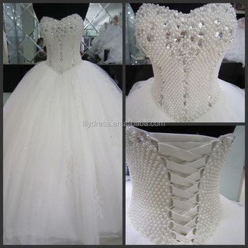 Pattern Bridal Pearl Beaded Ball Gwon Marriage Online Shopping Mm ...