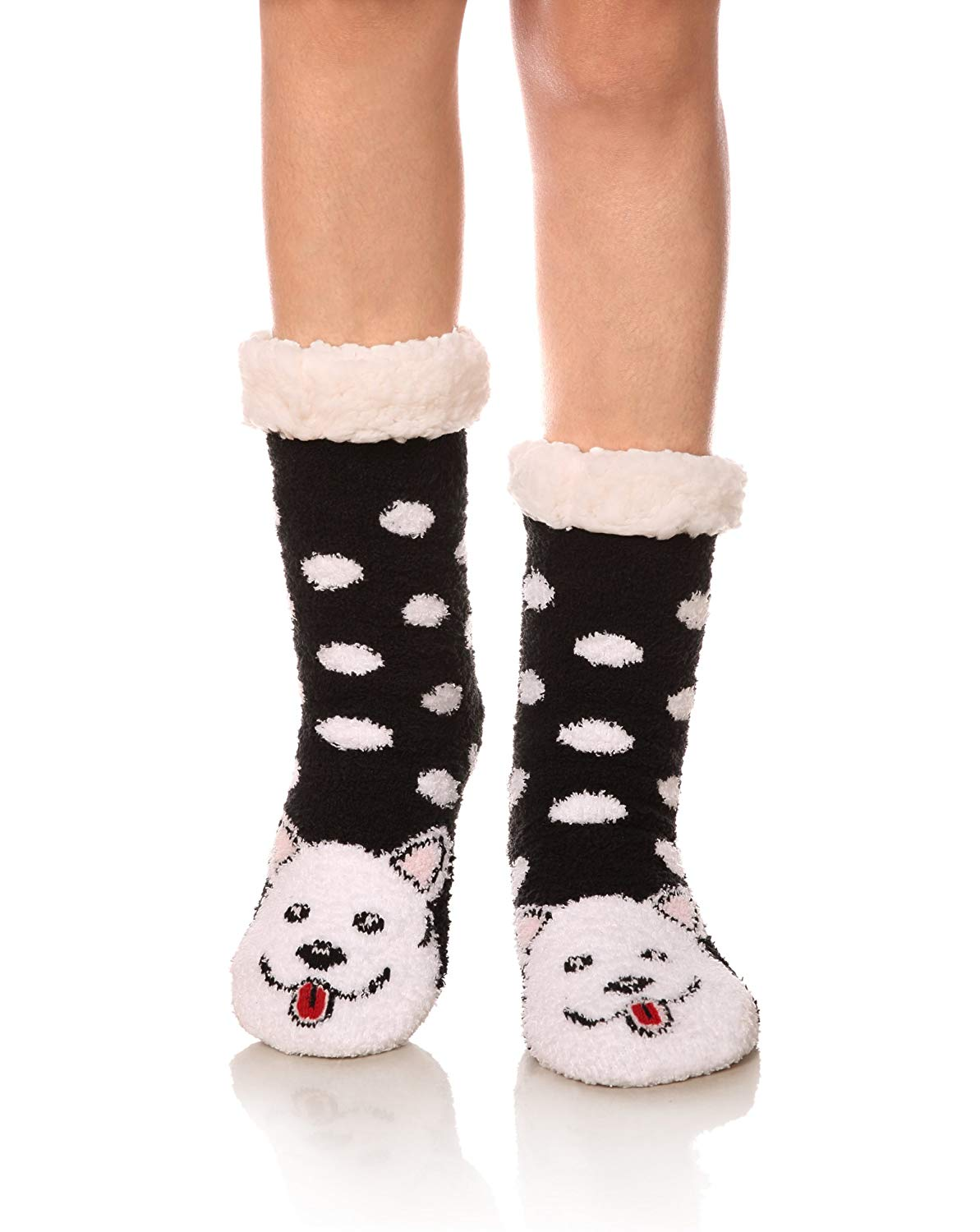 Marlong Womens Warm Soft Cute Cartoon Animals fuzzy Cozy Non-Slip Winter Indoor Slipper Socks