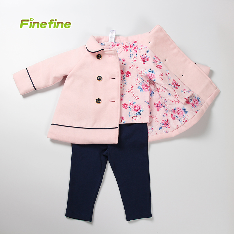 Newest Design Winter Fall High Quality 3 Pieces Pink Comfortable Children Clothes For Girls
