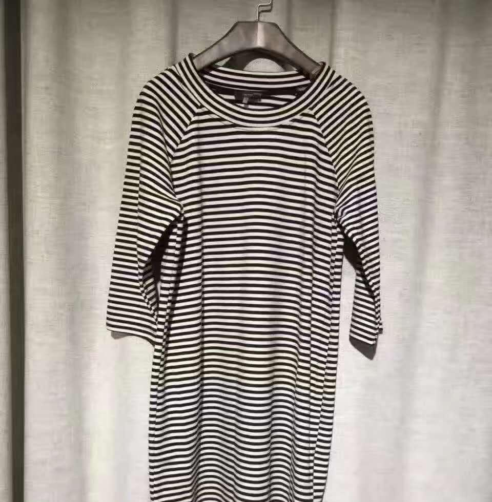 Ladies' Round Neck Short Sleeve Dress With 100% Striped Viscose Jersey Fabric