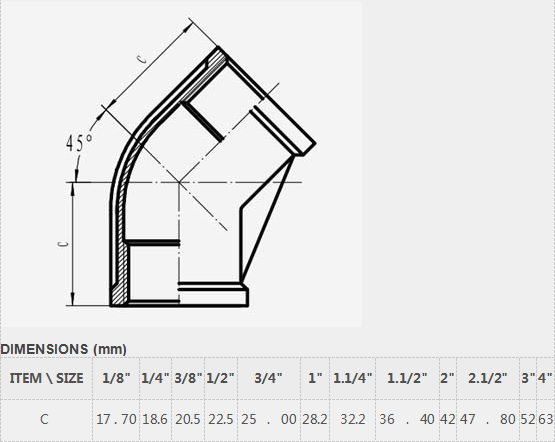 Connection and Casting Technics pipe fittings 45 degree elbow