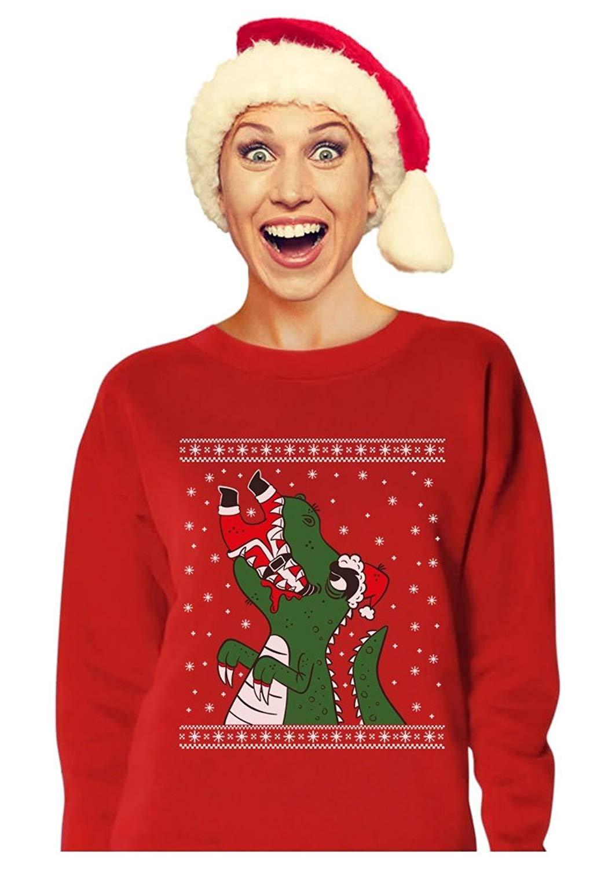 get quotations tstars santa claws ugly christmas sweater t rex vs santa funny women sweatshirt - Cheap Funny Ugly Christmas Sweaters