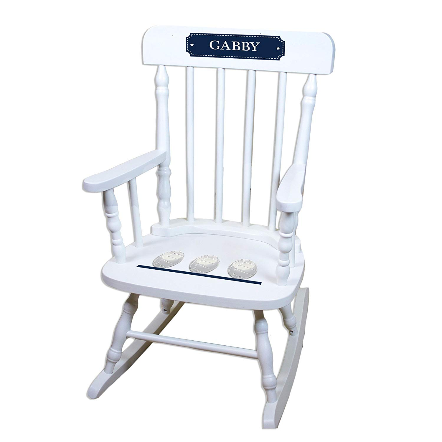 MyBambino Personalized Volleyballs White Wooden Childrens Rocking Chair
