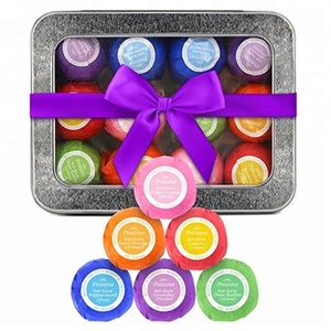 Wholesale Natural Colorful Organic Bath Bomb 12pcs Sets Handmade Birthday Bath Fizzy Gift in Iron Box Packing