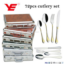 24pcs / 72pcs stainless steel cheap cutlery set in aluminum case with gold plated and mirror polishing