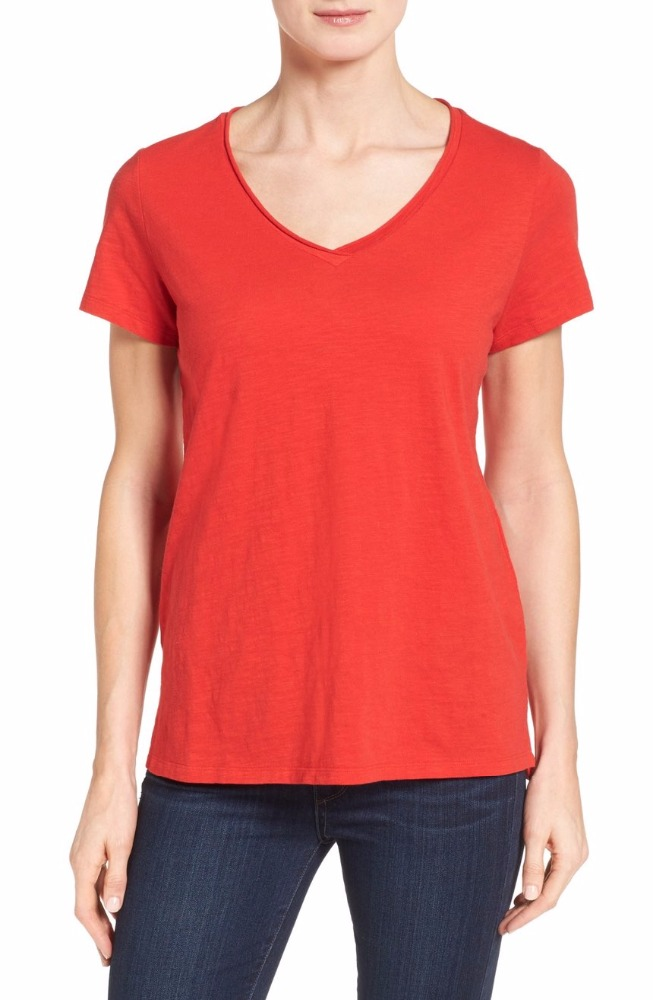 lightweight jersey made essential V-neck china imports t-shirt wholesale