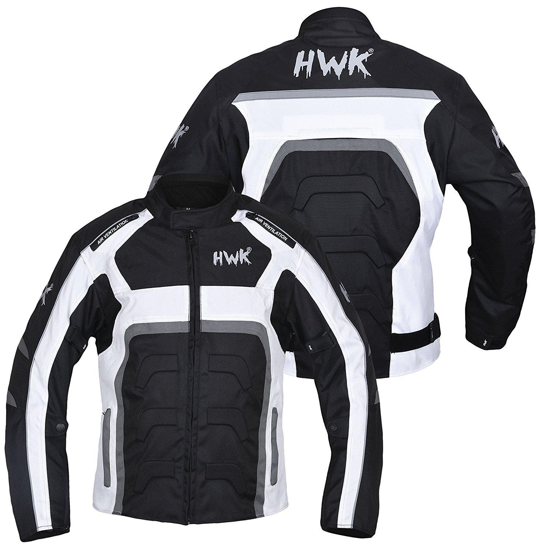 HWK Textile Long Motorcycle Jacket Cordura Motorbike Jacket Coat Breathable 100/% Waterproof CE Armoured S, Grey