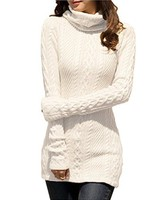 2018 Winter Women Polo Neck Knit Stretchable Elasticity Long Sleeve Slim Sweater Jumper