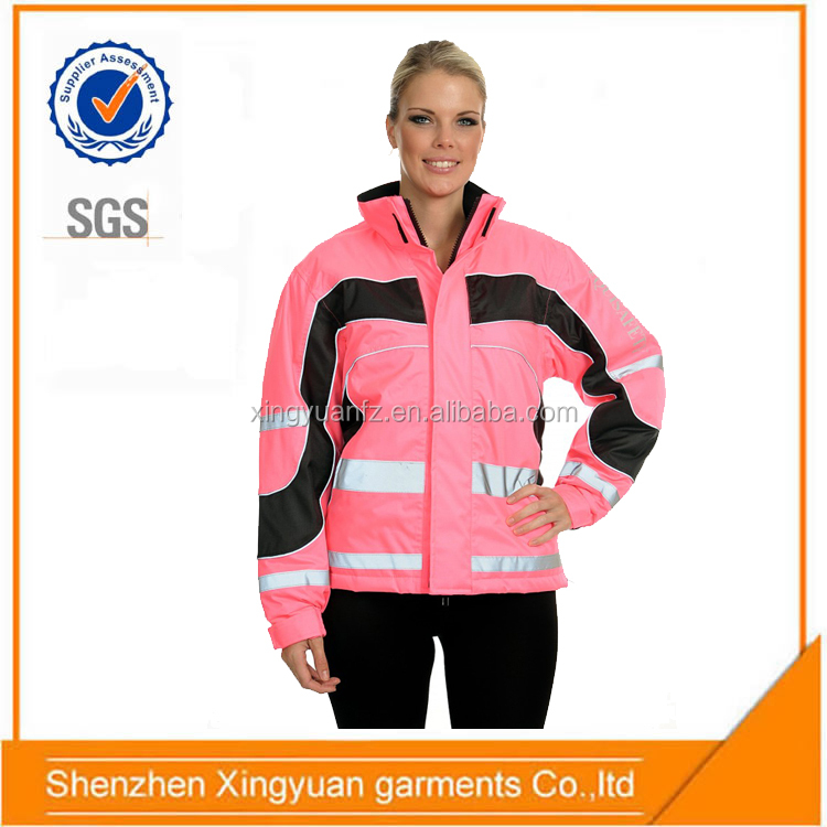 Hot Sale Women ride a horse Winter high visibility pink safety reflective jacket with inner coat