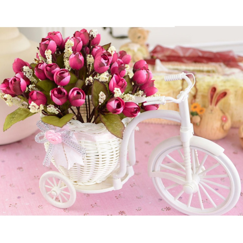 Free Shipping Plastic White Bicycle Bike Design Flower Basket Container For Flower Plant Home DIY Wedding Decoration