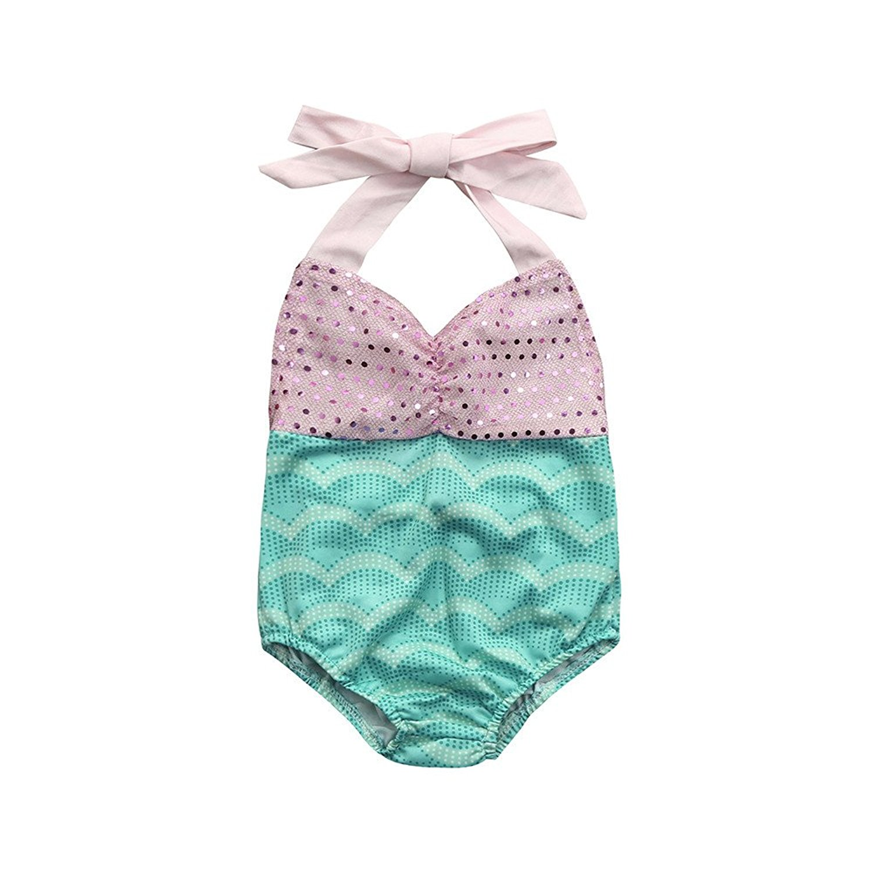Swimwear Baby Girl Dress Halter Tie Swimsuit Baby Color Sling Swimsuit Infant Kids Clothing