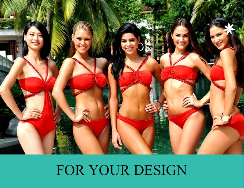 New fashion Sexy Deep V Cut  Ruched Bikini for Ladies Custom Design Women Swimwear