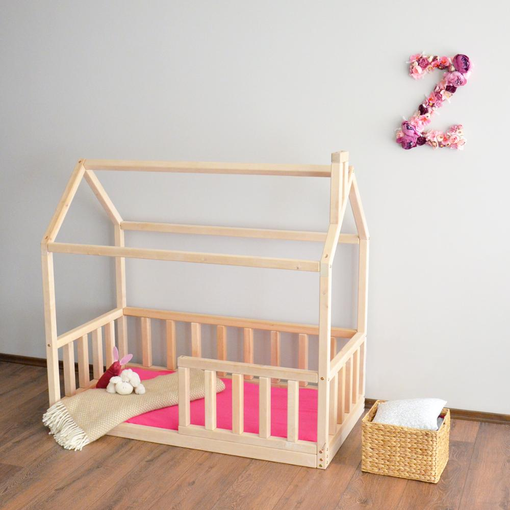 Pine Wood Montessori Children's House Beds detachable Safety Barrier