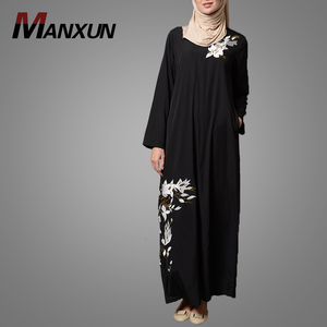 Newest Fashion White embroidery Abaya Dresses Simple Beautiful Black Jilbab Muslim Women Dresses Elegant Wholesale Abaya