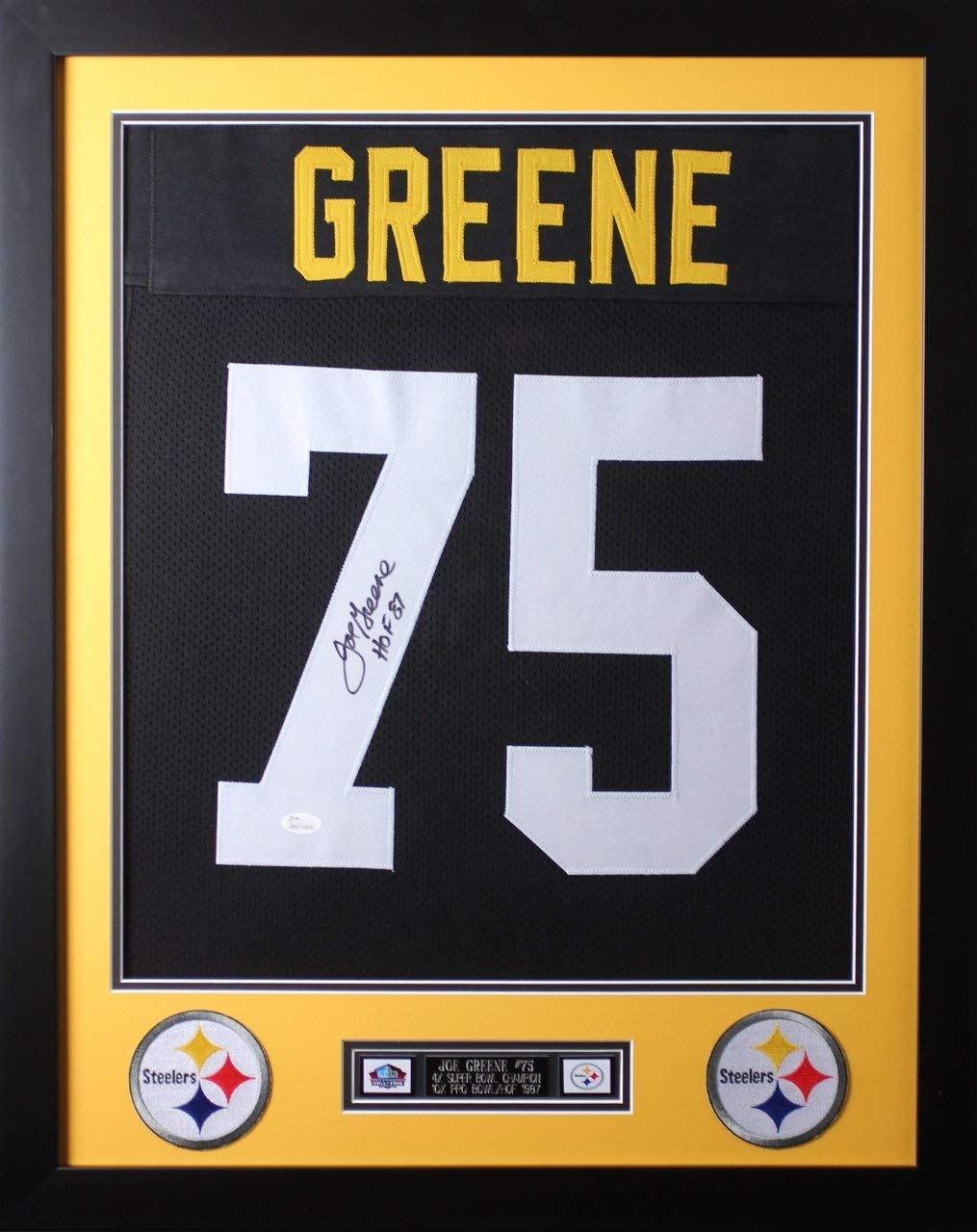 4b20ac5df Joe Greene Autographed Black Steelers Jersey - Beautifully Matted and Framed  - Hand Signed By Joe