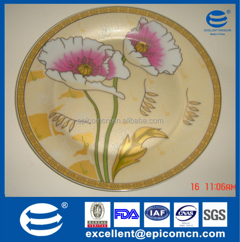 gold plated flatware wholesale ceramic dish/plates with flower prints on the plate