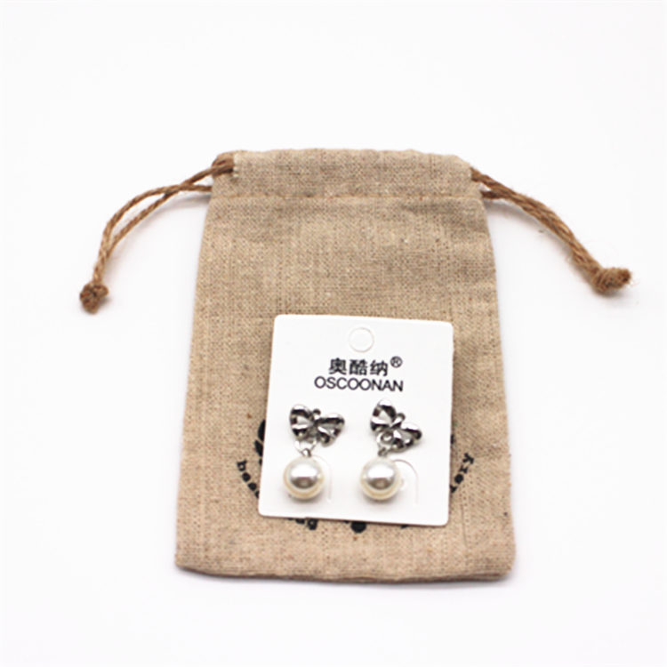 Customized Logo natural linen Drawstring Pouch Jewelry Gift Bag perfume bottle packaging
