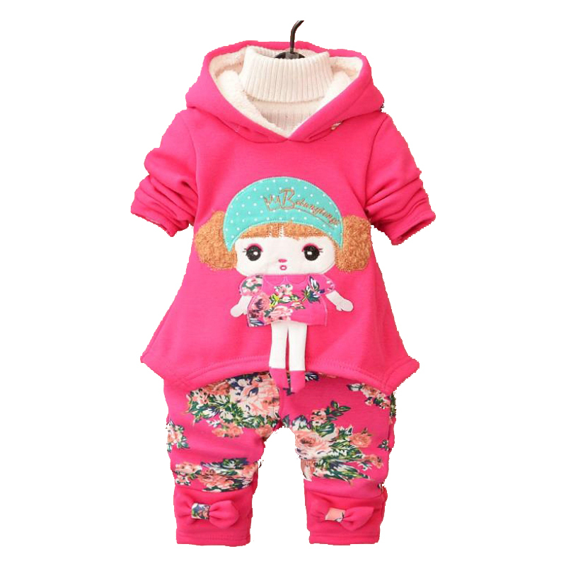 Cute Baby Girl Clothing Sets Spring Autumn Little Girl Kids Clothes Set Children Clothing Hooded Lace Floral Clothes