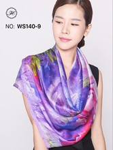 hangzhou 100% silk custom logo digital print silk scarf