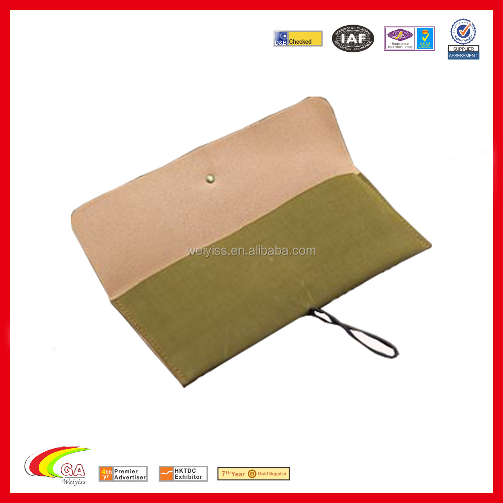 wholesale custom pu leather travel roll crochet hook bag case embossed LOGO