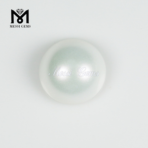 New Unique Round Smooth Cabochon 16.0mm White Glass Pearl