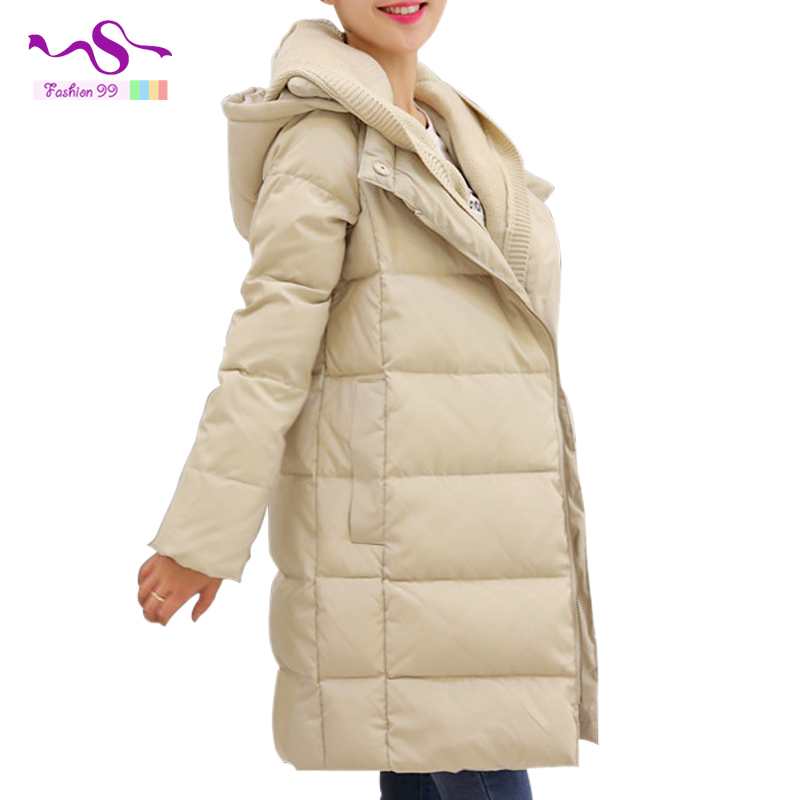 Women winter coat 2015 New Thick large size women down jacket long loose knit hooded stitching women's down jackets YT49