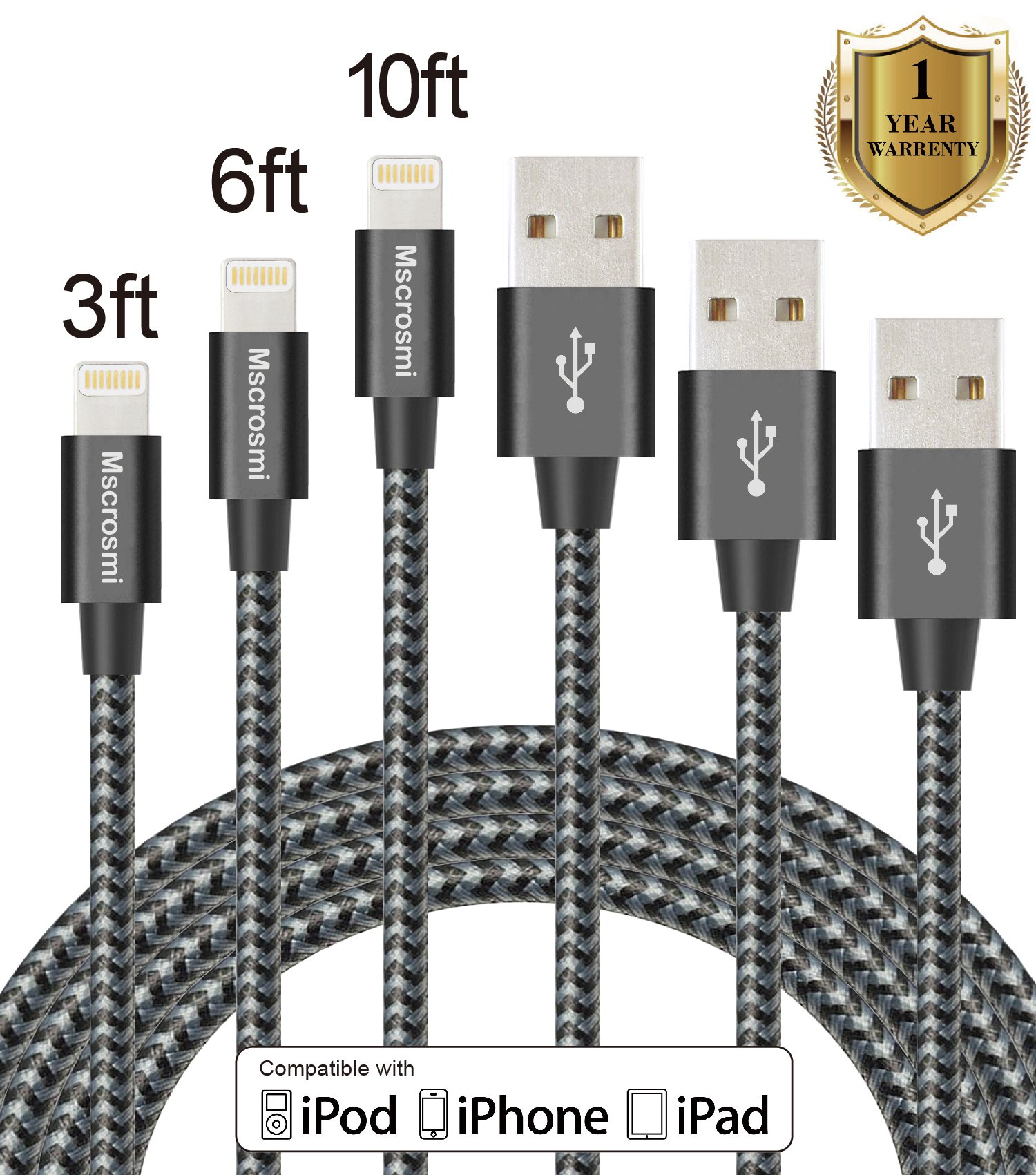Mscrosmi iPhone Cable 3Pack 3ft 6ft 10ft Nylon Braided Lightning Cable for iPhone7/7 Plus, iPhone 6/6s,iPhone 6/6 Plus, iPhone 5/5s, Lighting Devices (black gray)
