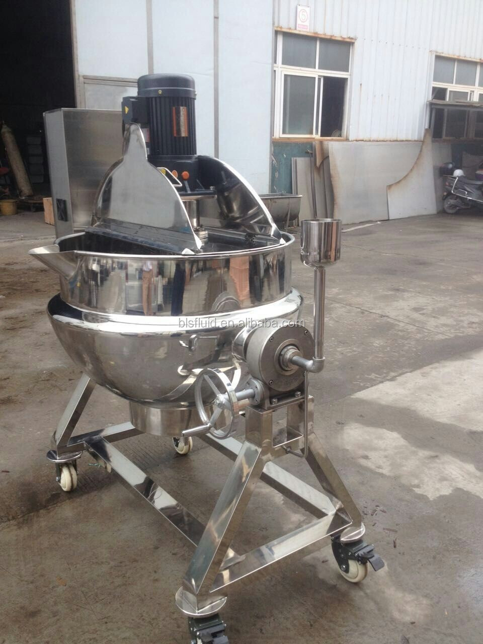 250L electric/gas cooking kettle mixer with top entry agitator