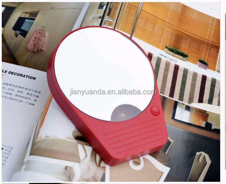 Travel makeup mirror with light / 10X magnifying cosmetic mirror with sucker
