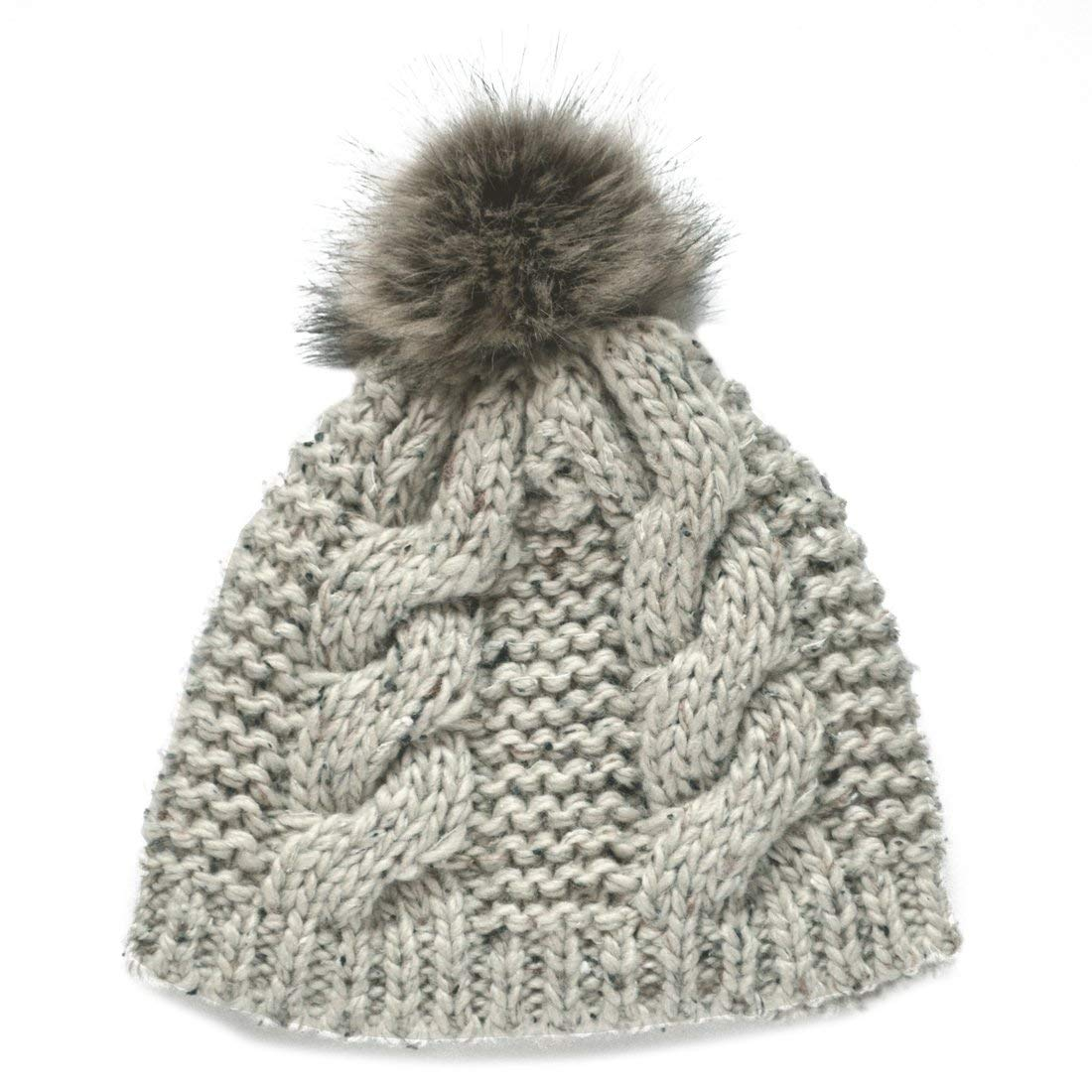 a2daacece77 Get Quotations · Patrick Francis Ireland Knitted Oatmeal Speckled Wool Fur  Bobble Hat