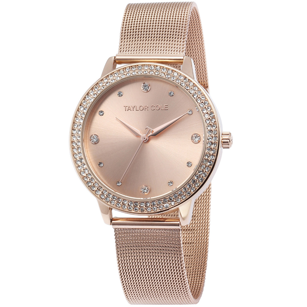 Taylor Cole Rose Gold Quartz Dress Watches Stainless Steel ladies wrist watch