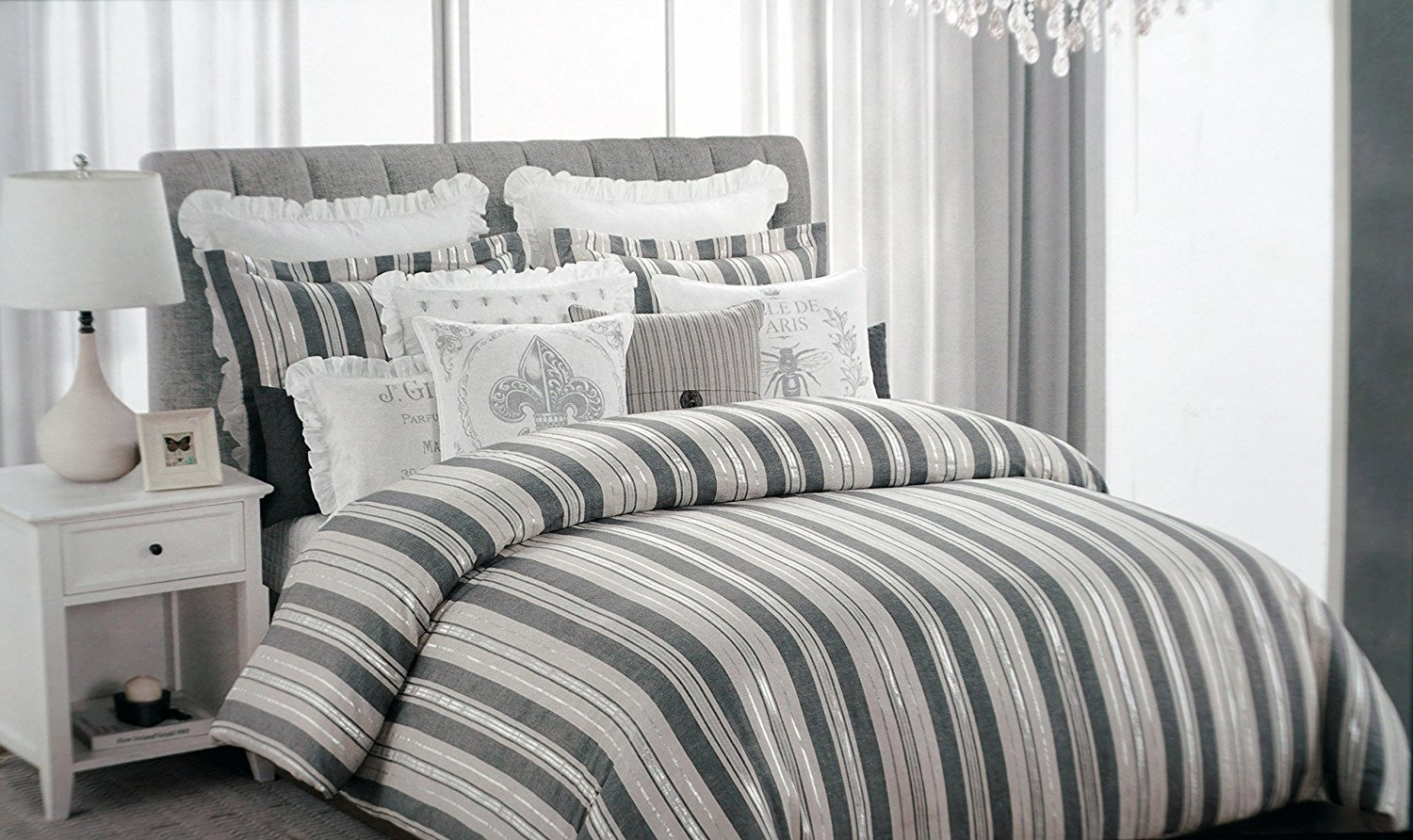 Nicole Miller Bedding 3 Piece King Duvet Cover Set Retro Gray Silver Cream Stripes