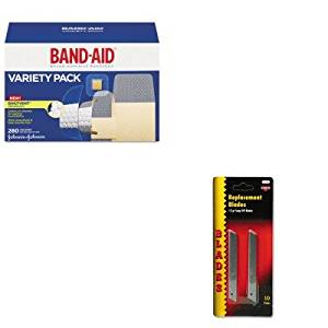 KITCOS091473JOJ4711 - Value Kit - Cosco QuickPoint Snap-Off Straight Handle Retractable Knife Replacement Blade (COS091473) and Band-aid Sheer/Wet Adhesive Bandages (JOJ4711)