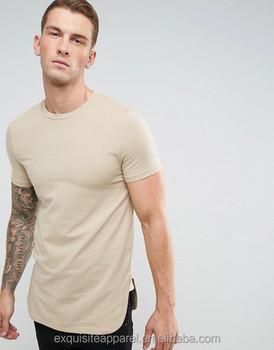 Men s Basic Elongated Cotton Lightweight Muscle T-Shirts Tee Shirts Mens  Long Sleeve Hipster Hip e7afcf6b1