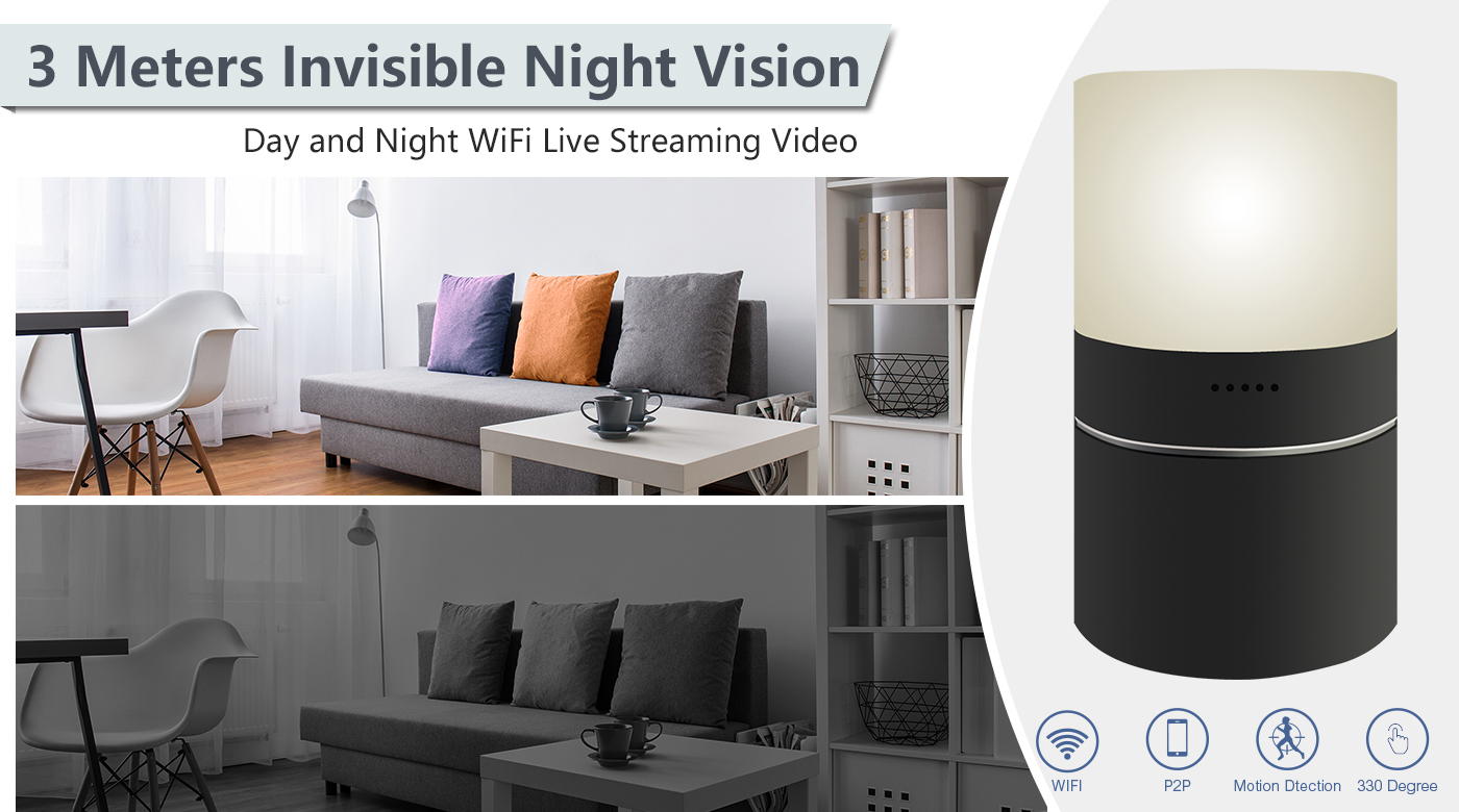 HD 1080P Colorful Lamp Hidden WiFi Camera 330 degree rotating lens to light up the life by finger remotely easily