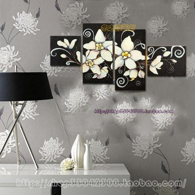 Pure hand-painted oil painting home decorations modern minimalist flower frame painting the living room sets