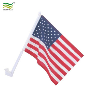 Economy 43cm Stiff Pole 75D Polyester United States USA Car Window Flag