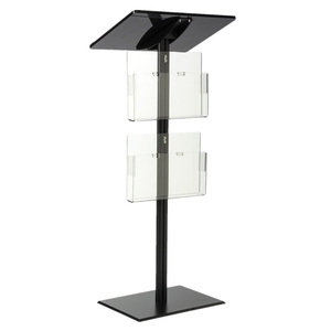 Modern Acrylic Podium Pulpit Lectern with 6 Brochure Pockets