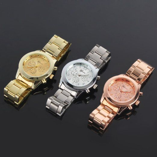 Japan Movt Geneva Watch Stainless Steel Back Gold Wrist Watch ...