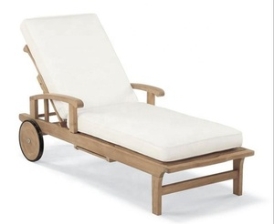 Outdoor patio teak wood door design beach sun chaise lounger with wheel