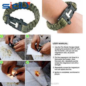 Top Quality Outdoor Survival Military Para Cord Bracelet Bracelet Camping Equipment
