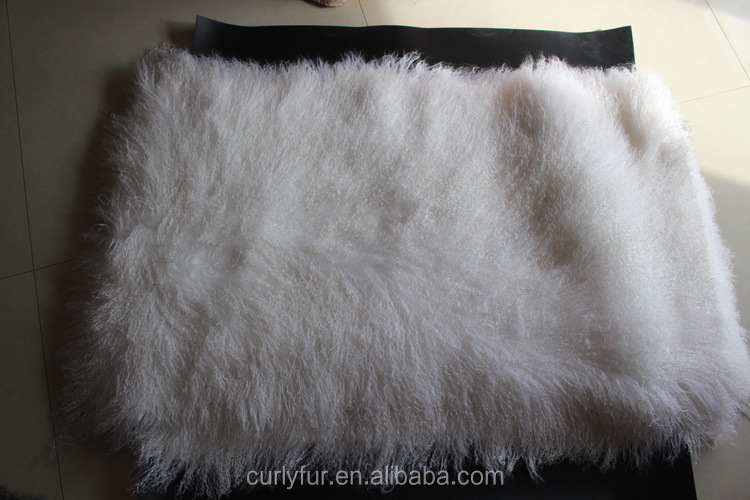 24x48 Inches Tan Color Tibetan Sheepskin Plate Mongolian Lamb Fur Blanket