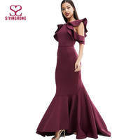 Women carpet ruffled cold shoulder prom maxi evening dress