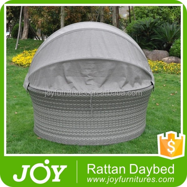 Patio Bali Canopy Bed Outdoor, Wicker Outdoor Sofa Bed Rattan Round Lounge With Canopy
