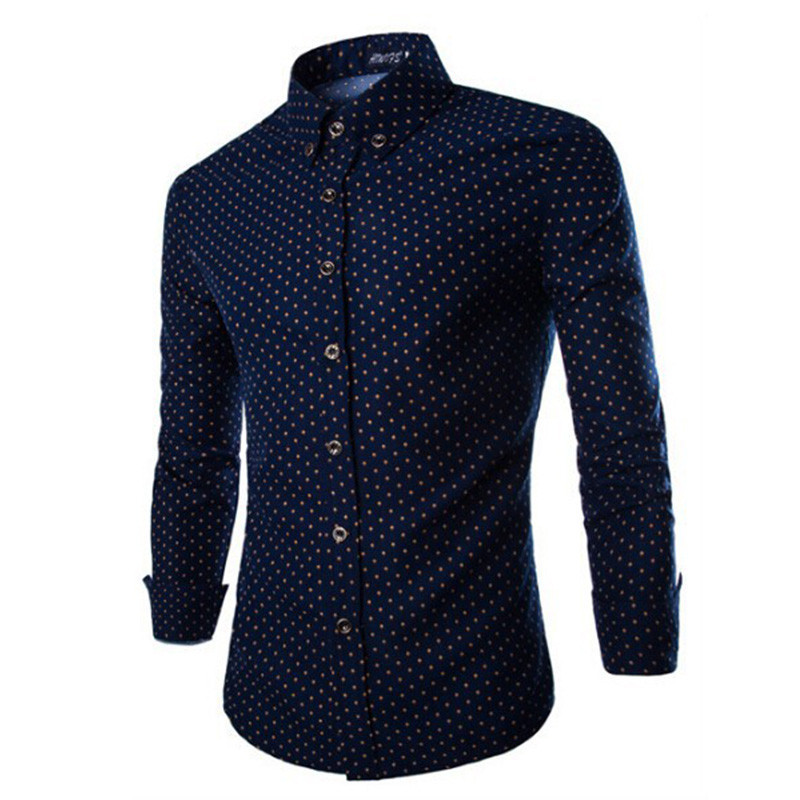 Mens Dress Shirts 2015 Brand New Men Cotton Business Slim Fit Polka Dot Long Sleeve French Cuff Social Shirt Camisa  ZHY1680