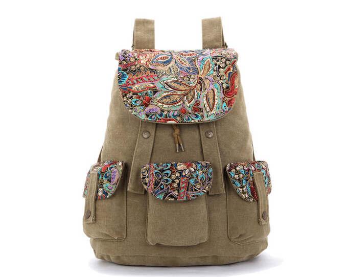 angel3292 Clearance Deals Ethnic Geometric Print Women Flap Canvas School Backpack Shoulder Bag Rucksack